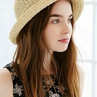 Blossom Straw Bowler Hat- Tan One
