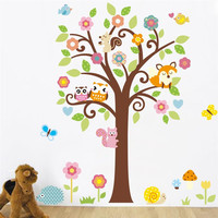 owls tree wall stickers kids gift playroom decor nursery cartoon home decals 1008. animals mural arts flowers plant poster4.0