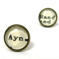 Ayn Rand Author Vintage Library Card Word Earrings Aged Brass Post Studs