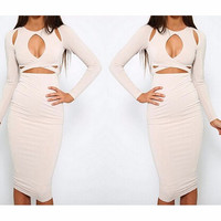 Hollow Out Round Neck Dress