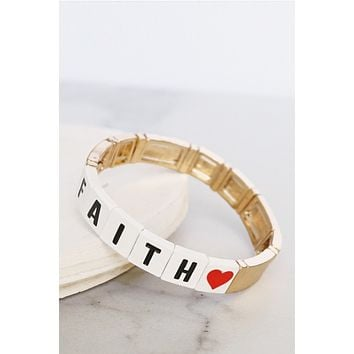 FAITH Gold Tone Block Bracelet