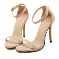 Fashion Summer Women Open-Toed Stripe Contracted Heel-Strap Sandals Nude (suede)