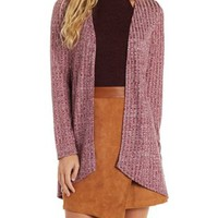 Cinnamon Ribbed & Marled Open Front Cardigan by Charlotte Russe
