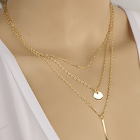 Fashion Three-Layered Copper Chain Sequins Necklace For Women