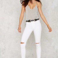 Aline High-Waisted Cropped Skinny Jeans -- White