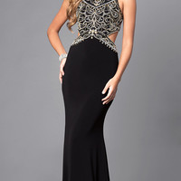 Back Cut Out High Neck Long Prom Dress