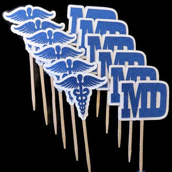 medical school graduation cupcake toppers, caduceus, doctor, MD, graduates, EMT, doctors, decorations