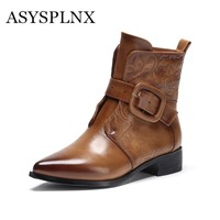 Womens Winter Simple Buckle Mid Calf Embossed Genuine Leather Pointed Toe Boots