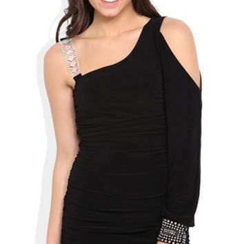 One Shoulder Dress with Long Sleeve and Stone Strap and Cuff