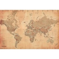 Antique Style World Map - Poster (Size: 36 x 24) Poster Print, 36x24