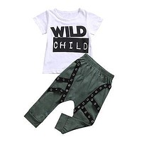 Cute Kid Baby Boys Clothing Set Wild Child Letter T-shirt Top+ Pants Outfits Clothes Set