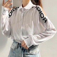 JADIOR Fashion Women Casual Long Sleeve Lapel Shirt Top White