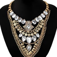 Gold and Rhinestone Statement Necklace