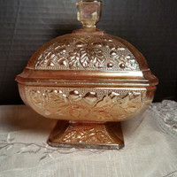 Acorn and Leaves Depression Carnival Glass Covered Footed Dish