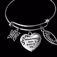 Love Expandable Charm Bracelet Blessed Adjustable Silver Bangle Butterfly and Blessed Fish