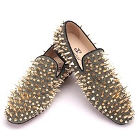 Gold Spikes Red Bottom Handmade Luxury Loafers