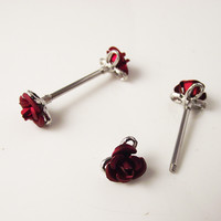 2 piece 1.6*16*6mm 14G Punk Rock Double Red Flower Nipple Shield Rings Body Piercing Jewelry Rose Flower Nipple Bar ring Women