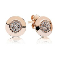 925 Sterling Silver Earring Rose Crystal Stud Earring for Women Wedding Gift fit Pandora Jewelry