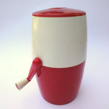 Ice Crushing Machine, unused Vintage, White, Red, Kitchen, Cocktail, Utensil, Lillo