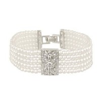 """Sterling Silver 5-Row Simulated Pearl with Vintage Cubic Zirconia Plaque Center Bracelet,7.25"""": Jewelry: Amazon.com"""