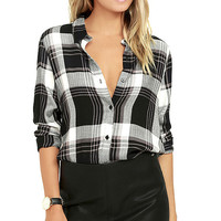 Plaid With My Heart Black and White Plaid Button-Up Top