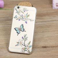 Diamond Painted Soft Silicon Back Cover Case For iPhone 5 5s 6 6s 6splus phone case Cherry Tree Cute cartoon beautiful girl
