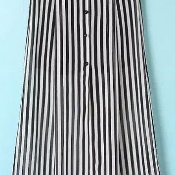 Black and White Striped Maxi Skirt with Buttons