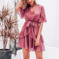 Elegant layered ruffle dress women Polka dot high waist short dress casual V-neck chiffon dresses ladies vestidos