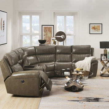 Acme 54600 3 pc Lonna taupe leather gel sectional sofa with power recliners