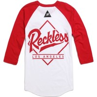 Young & Reckless Honorable 3/4 Raglan T-Shirt - Mens Tee - White - Extra Large