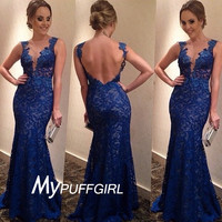Royal Blue Lace Illusion Plunging V Neck Mermaid Formal Gown With Open Back