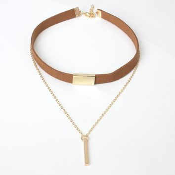 New Arrival Gift Jewelry Stylish Shiny Tassels Accessory Double-layered Brown Necklace [10541627220]