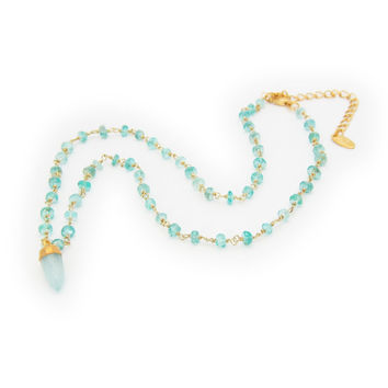 18k Gold Plated Sterling Silver Milky Green Chalcedony Bullet Charm Necklace, 16.5