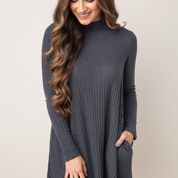 Here We Are Charcoal Dress