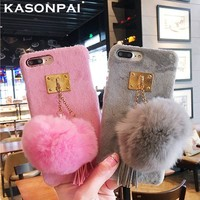 KASONPAI Luxury Gril Fur Ball Case Metal Ring Plush Phone Case For iphone 7 6 6S 8 plus X Hard Back Cover Lovely Furry Case Capa