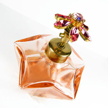 Vintage I Rice Perfume Bottle, Peach with Pink Rhinestone Topper, Glass, Works / Vintage Wedding Perfume Bottle - Bouteille