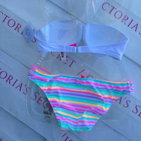 New Sexy Victoria's Secret Striped Sequin White Madi Bandeau Bikini Set 38B M L
