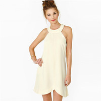 SIMPLE - Women Sleeveless Round Necked Fashionable One Piece Dress a10748