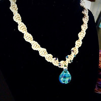 """Spiral Hemp Necklace with Glass Mushroom Pendant and Luminescent Seed Beads. 18"""".Hippie Jewelry. Hemp Jewelry. Hippie Necklace."""