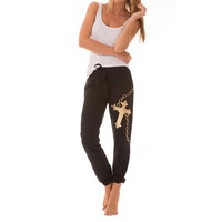 3 Pairs: Bottoms Up 100% Cotton French Terry Lounge Pants with Cross Chain Graphic