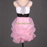 short organza prom dresses with rhinestones cute v-neck gowns for party cheap unique honecoming dress