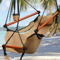 New Deluxe Tan Sky Air Chair Swing Hanging Hammock Chair W/ Pillow & Drink Holder:Amazon:Patio, Lawn & Garden