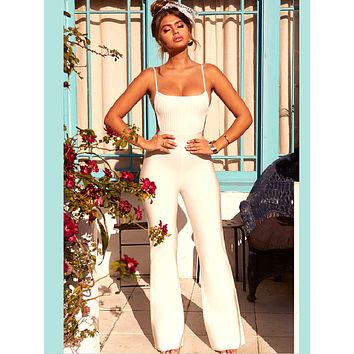 Fresa Open Back White Bandage Jumpsuit