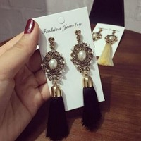 Ancient European-Style Gold w/ Pearl Long Tassel Earrings - 1 Pair (5 Colors)