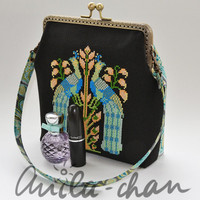 Peacock, Peafowl cross stitched clutch, hand embroidered evening clutch, black, blue, green, golden purse,