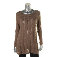 Style & Co. Womens Petites Knit Long Sleeves Pullover Sweater
