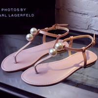 Summer Fashion Women's Shoes - Lace Up pearl Sandals for summer beach  = 4777186116