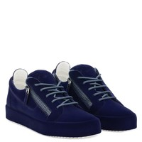 Giuseppe Zanotti Gz The Unfinished Dark Blue Leather Low-top Sneaker With Flocking Patina