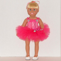 American Girl Doll Clothes Hot Pink Zebra Stripe Dance Outfit with Leotard and Tutu fits 18 inch Dolls