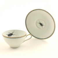 Vintage Altered Porcelain Cup Cockroach Tea Coffee Saucer Insect Bug Geekery Whimsy White Brown